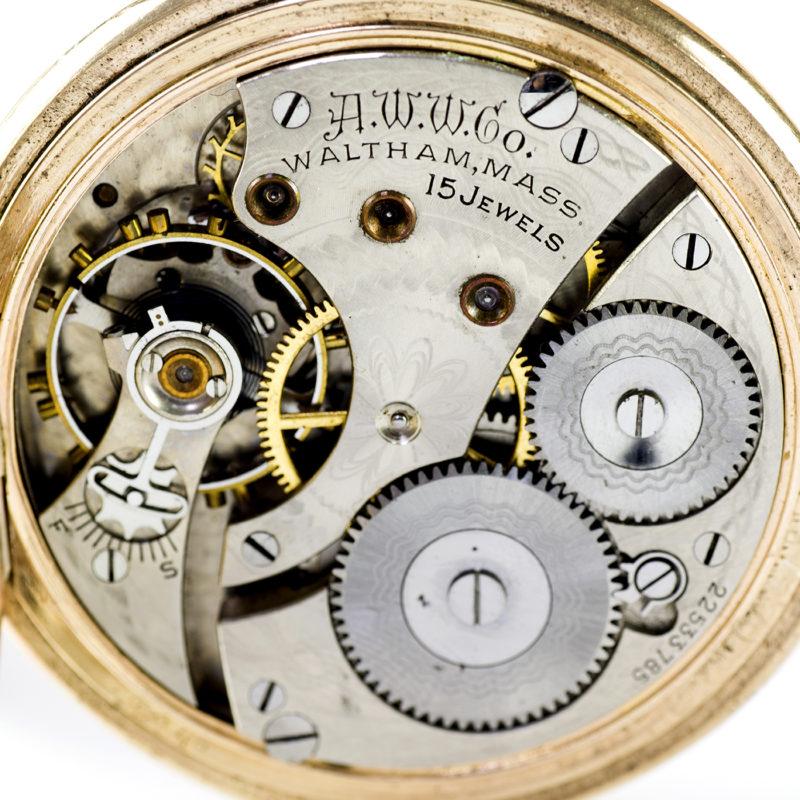 WALTHAM, MASS. (USA). Reloj de bolsillo, saboneta y remontoir. Año 1918