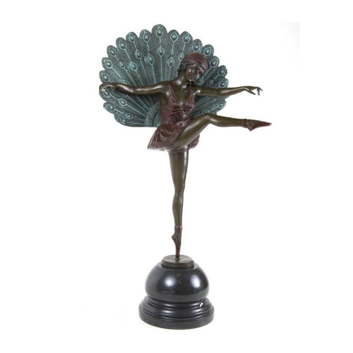 M.PELLIER. Escultura en Bronce, Art-Decó, de figura de Bailarina con plumas. Siglo XX