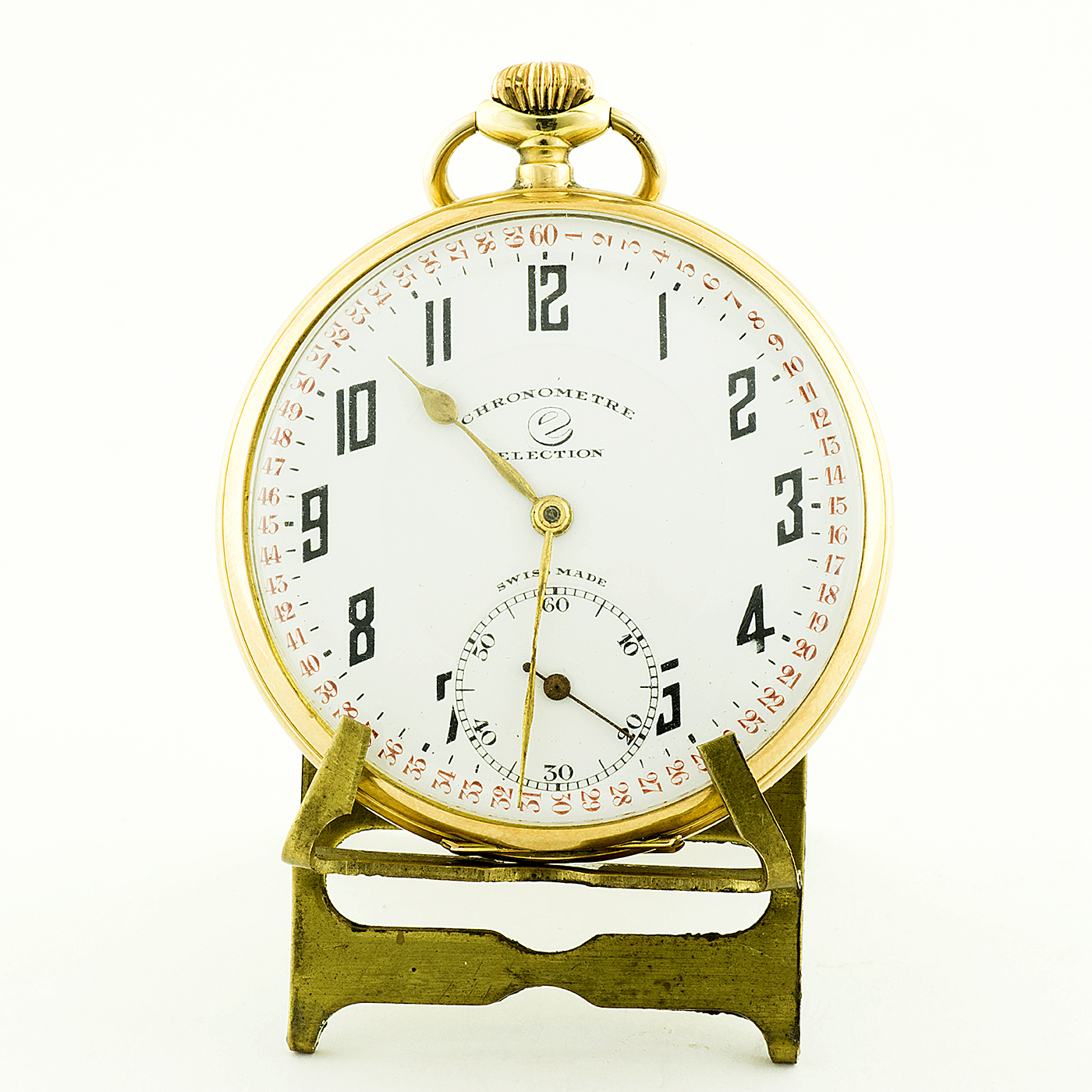 ELECTION. Reloj de bolsillo, lepine y remontoir. Suiza, ca. 1900. Oro 14k.