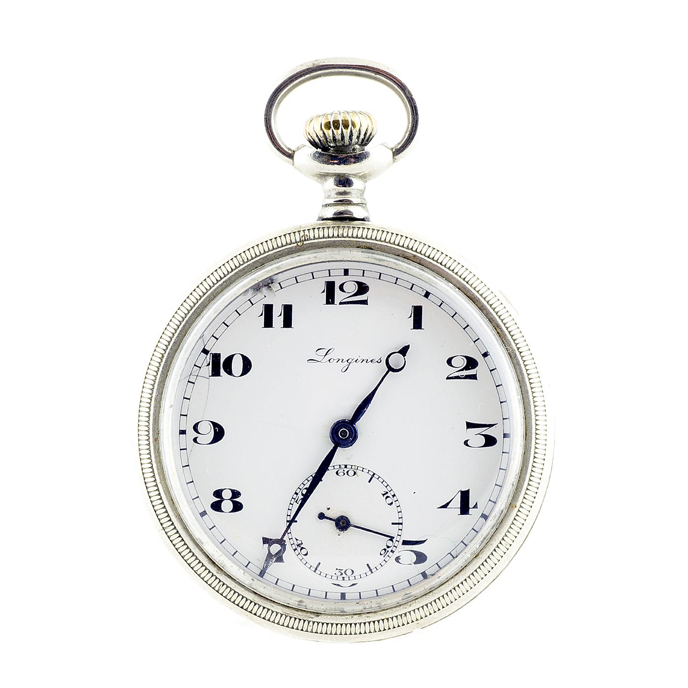 Longines. Reloj de bolsillo, lepine y remontoir. Año 1918.