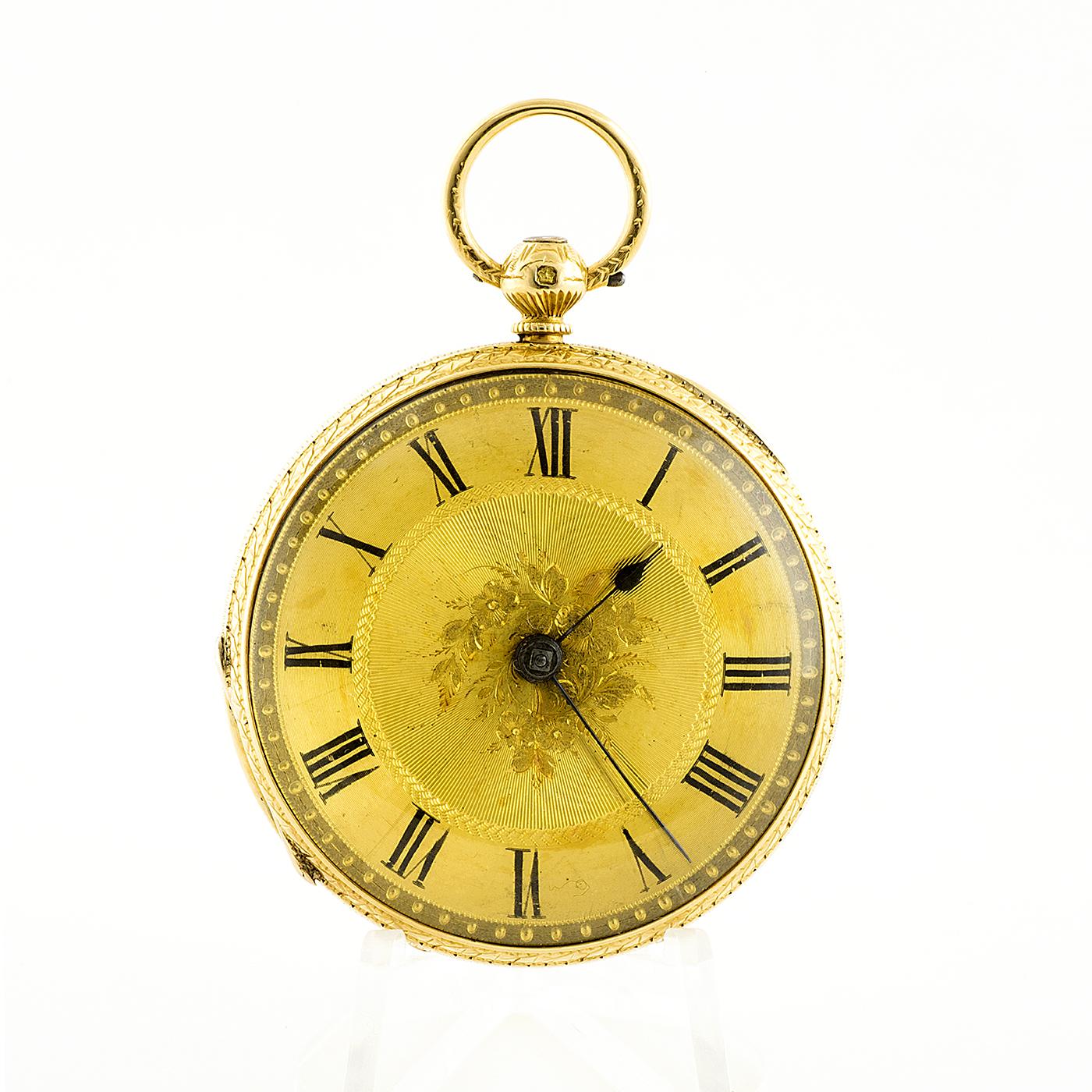 Parsons (Ealing, Londres). Reloj de Bolsillo Half Fusee (Semicatalino), lepine. Chester, 1870. Oro 18k.