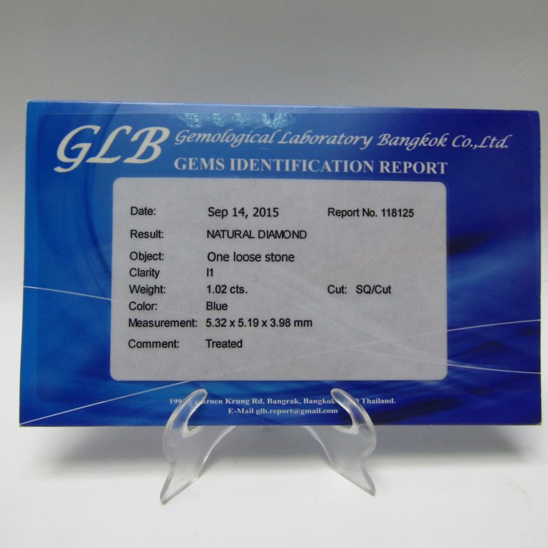 Diamante Natural talla Princesa de 1,02 ct. I1, Azul. Certificado GLB.