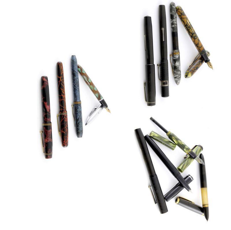 Conjunto de 12 plumas estilográficas antiguas. Marcas, RITZIE, NATIONAL, BLACKBIRD , PENPLAS, WATERMEN , PLATIGNUM , WEAREAVER, PLYMOUTH y DURIUM