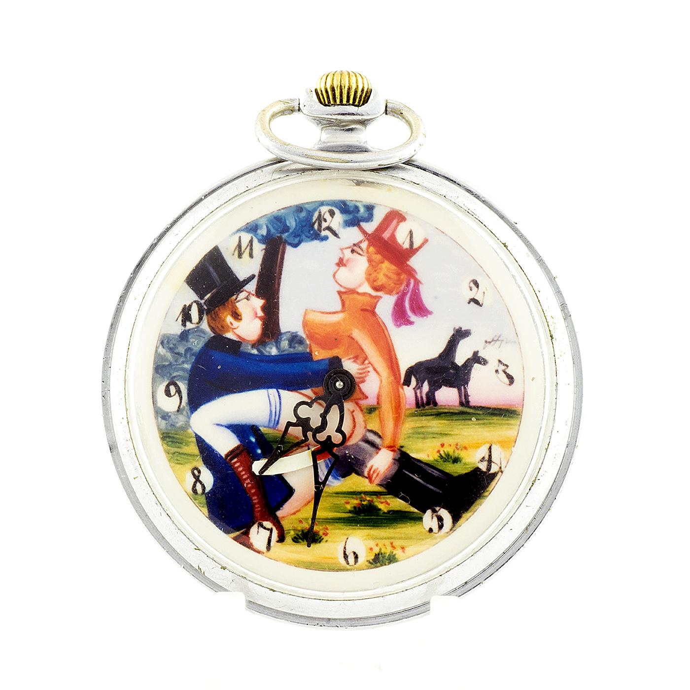 Reloj Suizo Erótico de Bolsillo, lepine y remontoir - AUTOMATÓN. Circa 1900
