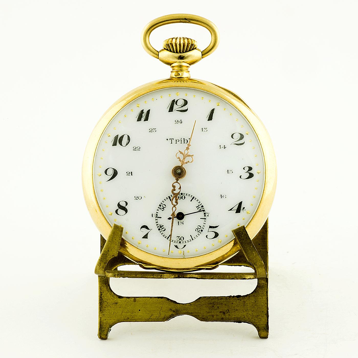 TRIB BESANÇON. Reloj de Bolsillo Oro 18k, para caballero, lepine y remontoir. Oro 18k. Francia, ca. 1920.