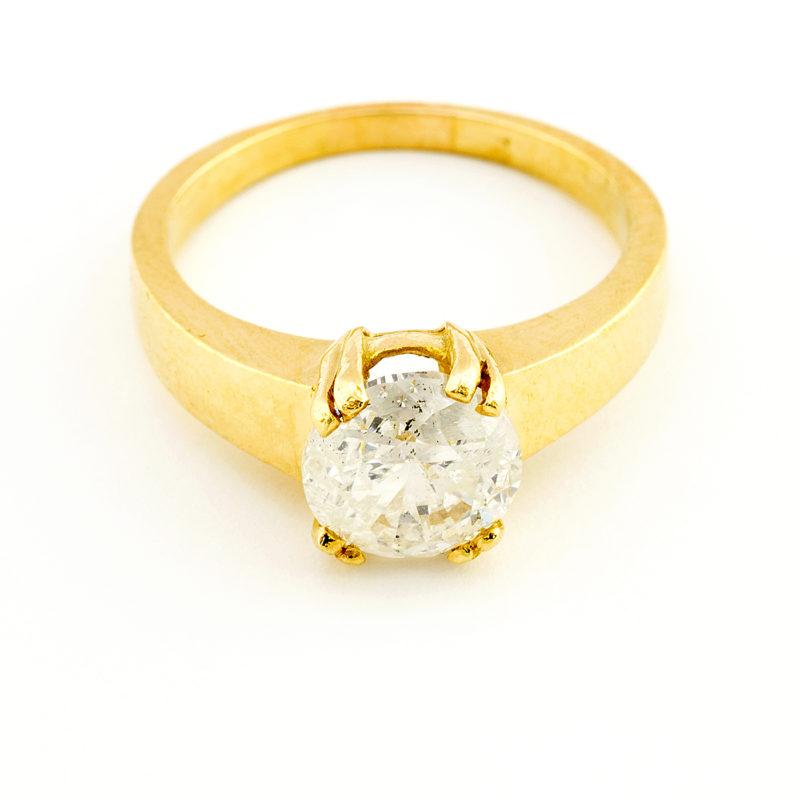 Sortija en Oro con Diamante Natural talla Brillante de 1,89 ct. (I/SI2). 17,25 mm.