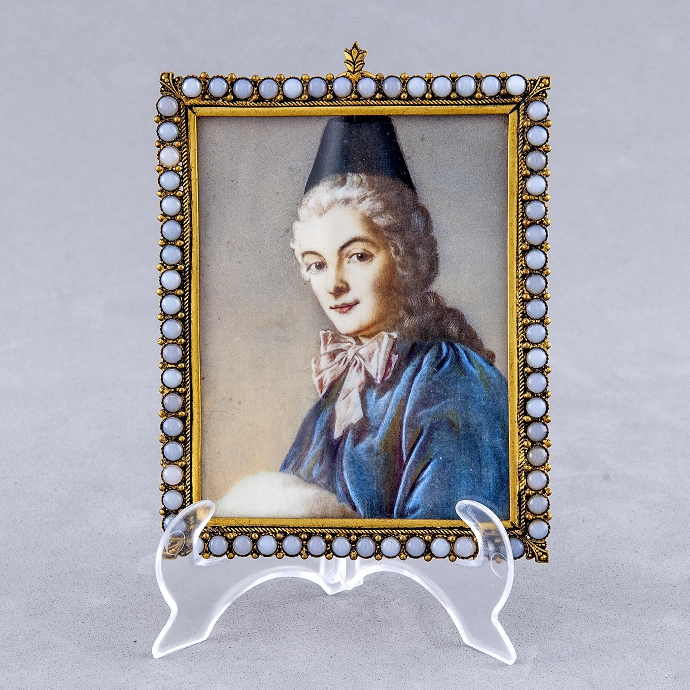 "ESCUELA ALEMANA SIGLO XIX. Miniatura pintada a mano sobre lámina de marfil. ""Retrato de Miss Robinson"""