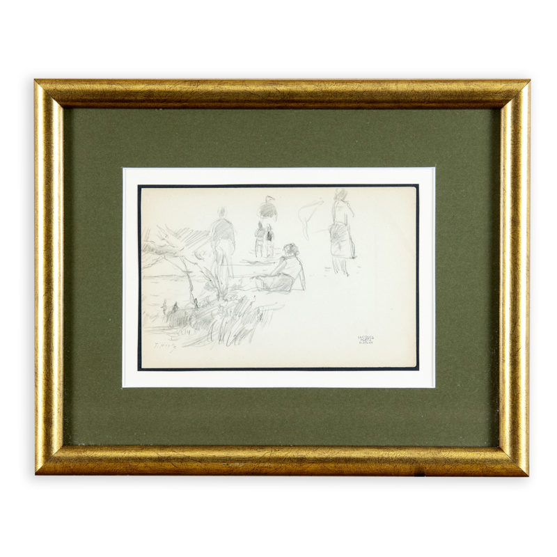 JacquesHirtz(París, 1905-1988). Lote de tres Dibujos a Lápiz. Paisaje de Playa, Marina y Puerto Costero.