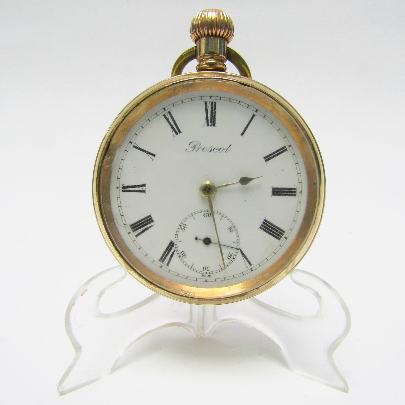Prescot. Reloj de bolsillo, lepine y remontoir. Ca. 1900