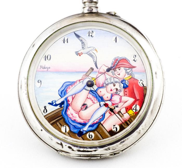 JAE (Suiza). Reloj Magnum de Bolsillo Erótico, Automatón, Lepine y remontoir. Ca. 1900
