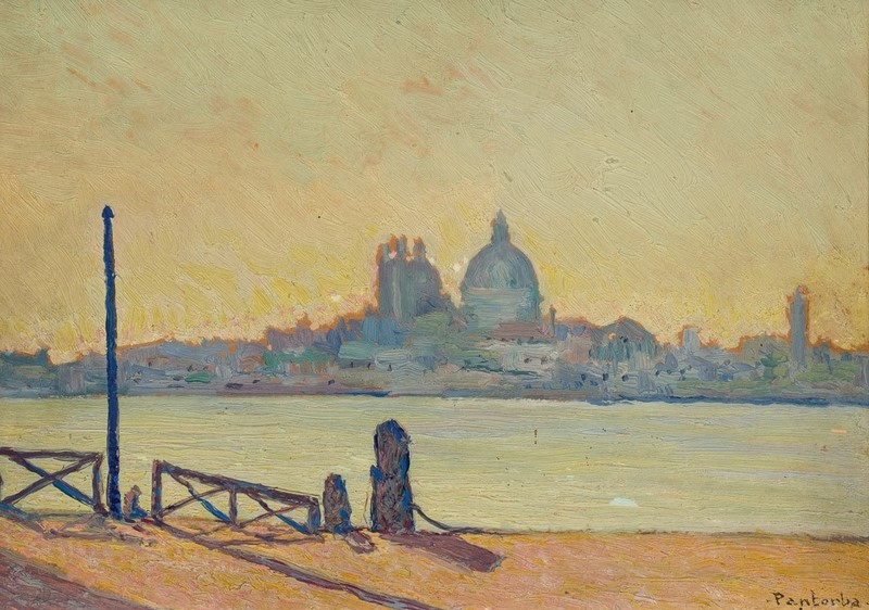 "BERNARDINO DE PANTORBA. Óleo sobre tabla. ""Venecia"""