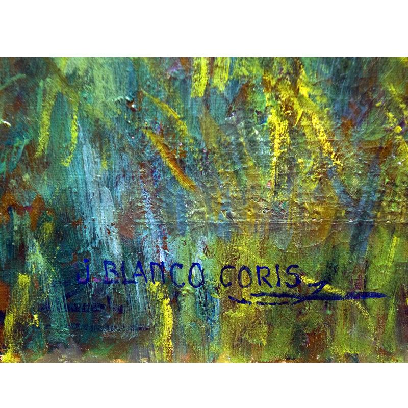 """JOSÉ BLANCO CORIS. Óleo sobre lienzo. """"Paisaje con Puente"""""""