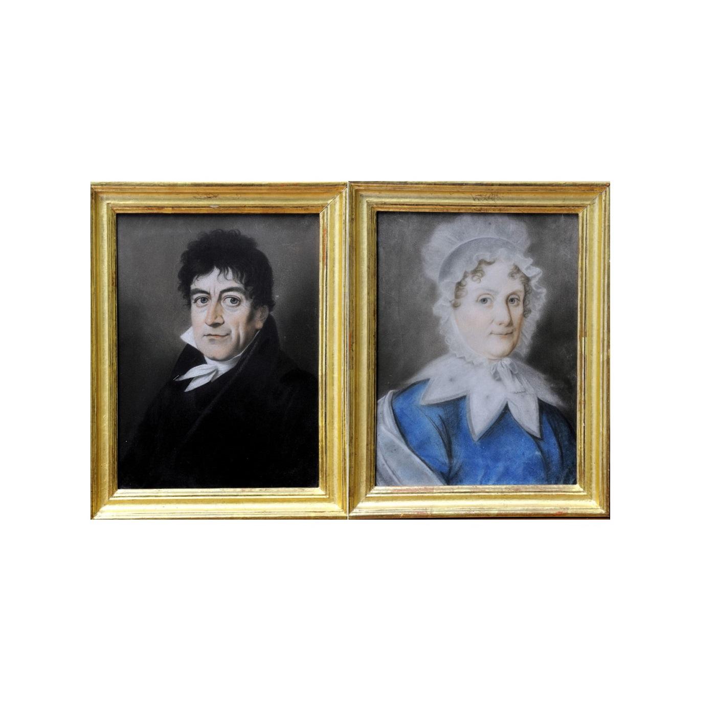 "ESCUELA INGLESA SIGLO XVIII. Pastel sobre cartoncillo. """"Pareja de retratos"""