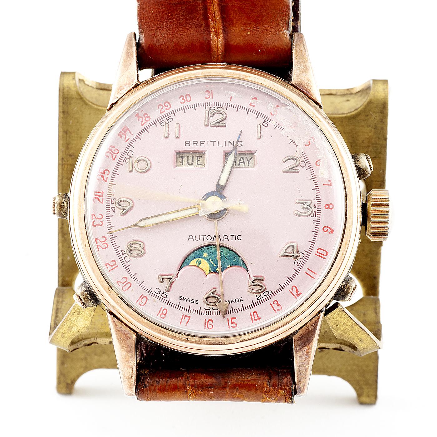 BREITLING. Reloj Automático de pulsera, calendario y multifunción. Acerp y GoldFilled. Suiza, ca. 1960.
