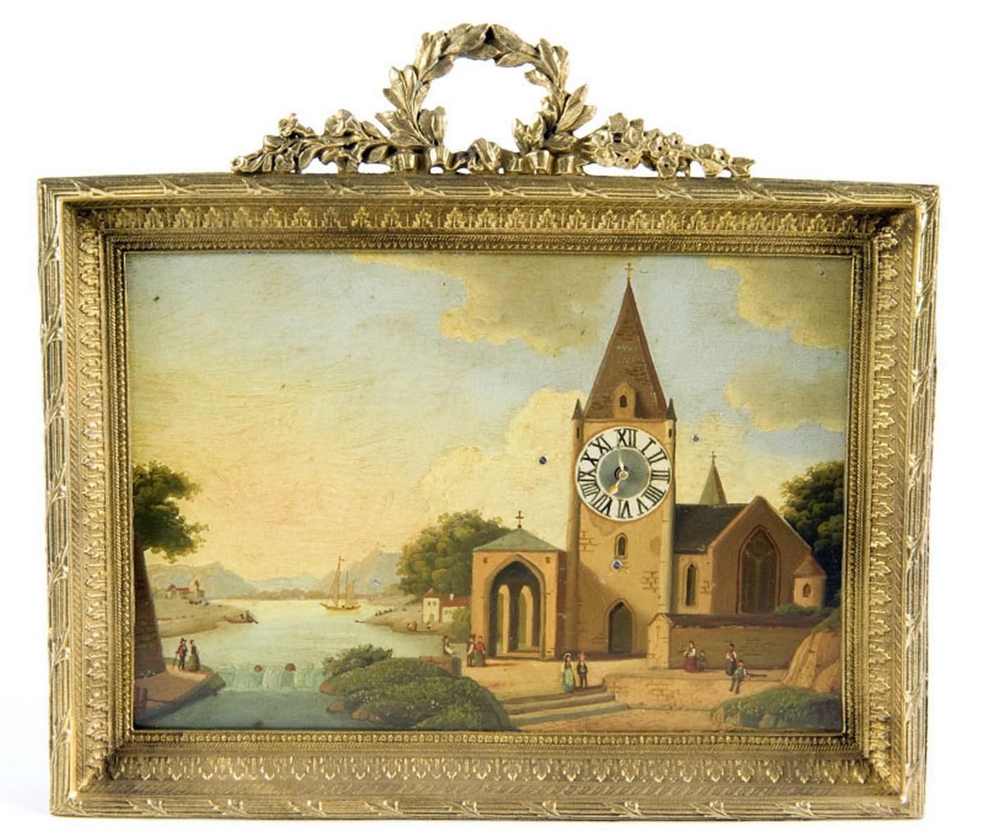Reloj de Sobremesa-Colgar, integrado en óleo sobre placa de cobre. Manufactura Austriaca. Siglo XIX