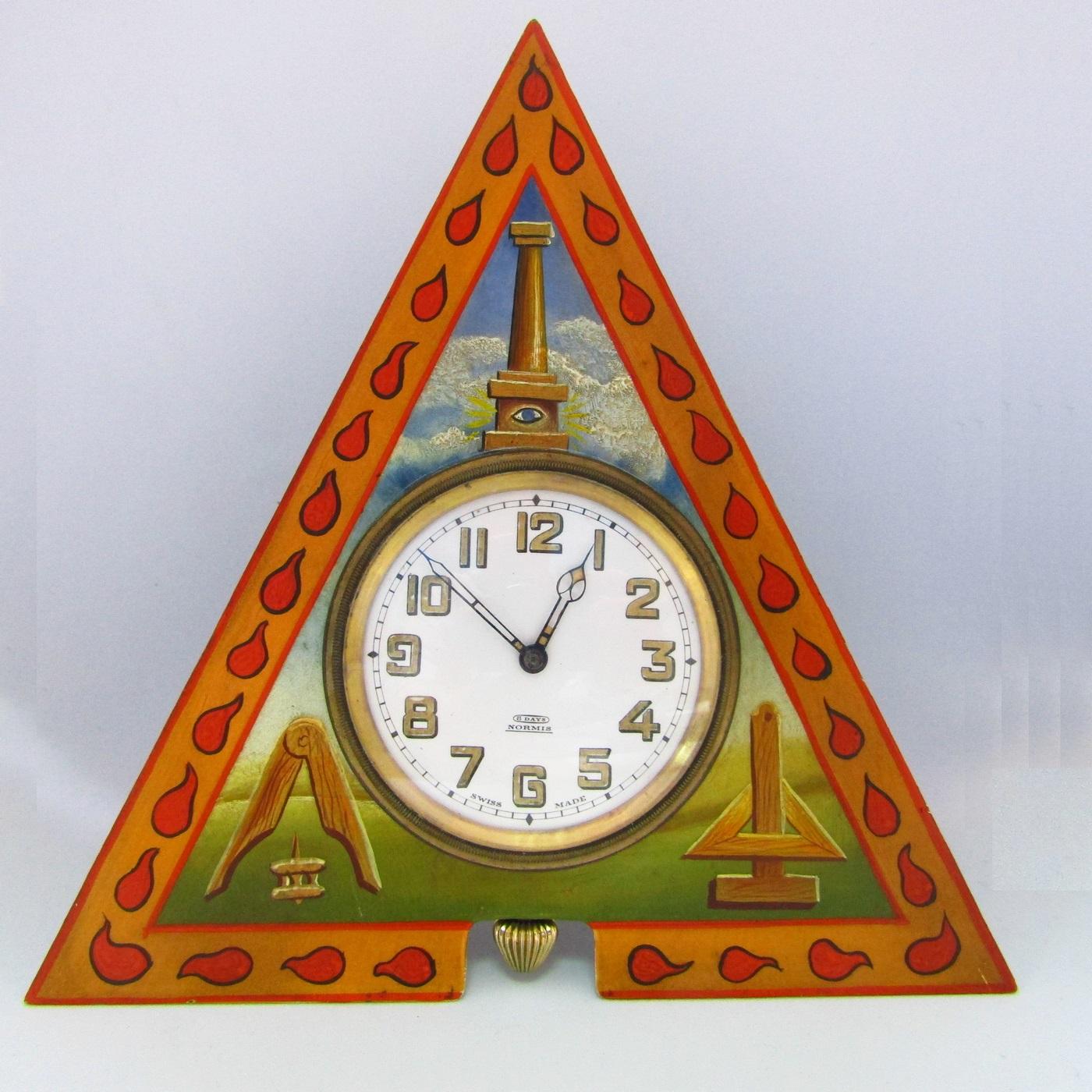 GOBRING WATCH Co. Reloj de bolsillo-sobremesa Masónico, 8 días cuerda. Suiza, finales siglo XIX.