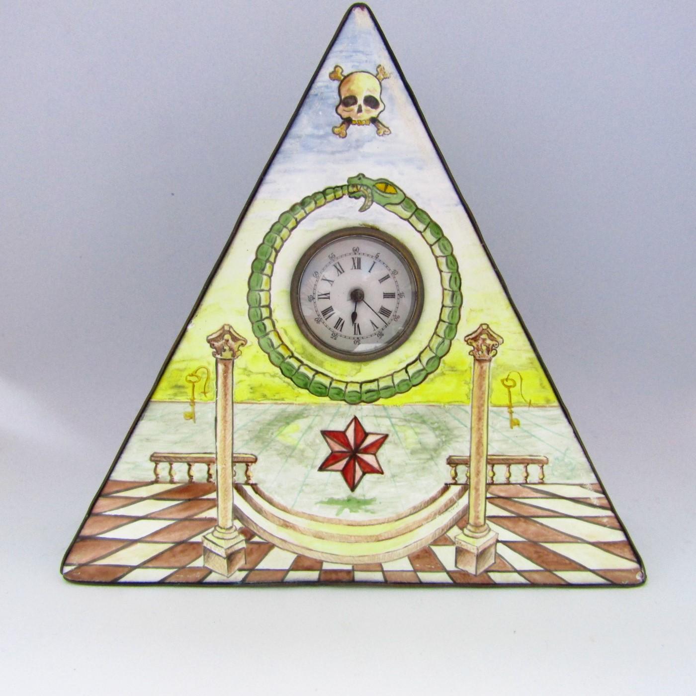 Reloj de bolsillo-sobremesa Masónico. Siglo XIX.