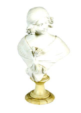 Escultura de Busto de dama en mármol. Siglo XIX.