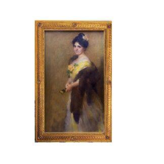 "Gonzalo Bilbao Martínez. (1860-1938). Pastel sobre lienzo. ""Figura Femenina"""