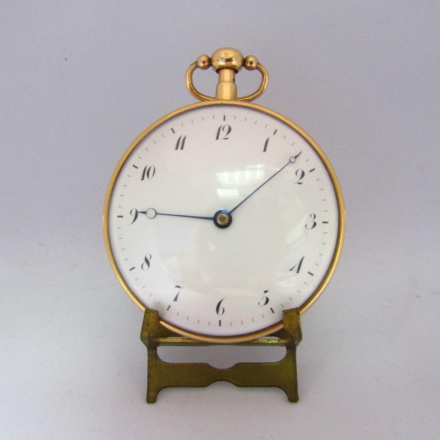 Reloj francés de Bolsillo para caballero, lepine, repetición horas y cuartos. Oro 18k. Ca. 1800.